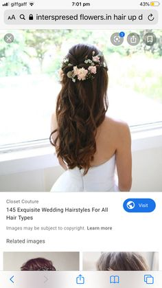 Bride Hair Flowers, Bride Hairstyles, Hair Type, Couture, Long Hair Styles, Beauty, Hairstyles For Brides, Bridal Hairstyles, Long Hairstyle