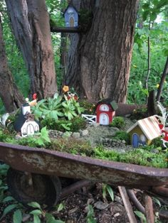 Miniature Garden in a wheel barrel.