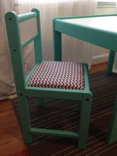 This child's table, chair, and toy box are finally complete. The chair and table frame are painted a bright Aqua blue. The chair and toy box lid have been covered with a 1 inch cushion and fun gray and white chevron-like patterned fabric for comfort and style. I decided to leave the frame of the toy box raw to add different texture and tone. Find me on Facebook and Instagram by searching The Red Wasp to stay updated for new items, sales, and giveaways!!!