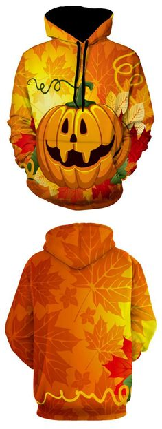 3D Pumpkin Halloween Pullover Hoodie - Xl