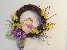 Easter flower wreath, Bunny wreath, Floral Easter wreath with bunny and egg, Easter door decor, Purple & yellow Easter decor, Easter wreath by StylishDecorbyGClark on Etsy
