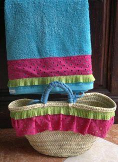 conjunto para playa-piscina  cesta  toalla,tejido  plisado,trapillo cestería  cosido a mano,cosido