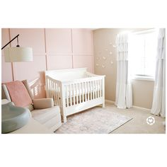 Light Pink Nursery Walls, Light Pink Walls, Pink Accent Walls, Pink Bedroom Walls, Pink Bedroom For Girls, Girl Nursery Colors, Nursery Wall Decor, Accent Wall Nursery, Nursery Room