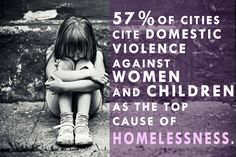 57% of cities cite domestic violence against women and children as the top cause of homelessness--so remember that before you blame someone for their situation.