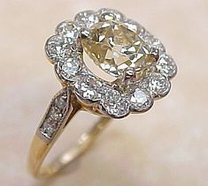 VINTAGE Diamond Ring 2.25 Ctw 1.50 Center Fancy Color from arnoldjewelers on Ruby Lane