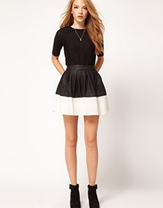 asos; skater skirt in leather look (black/cream) (note to others who may purchase: the inside of the faux leather is a warm fleecy material--definitely not for summer!)