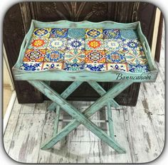 Pin by Aynur Kurtbay on sehpa-tabure-tepsi-sepet Decorative Accessories, Decorative Items, Furniture Makeover, Diy Furniture, Wooden Hammock Stand, Wooden Painting, Paisley Art, Boho Home, Tray Decor