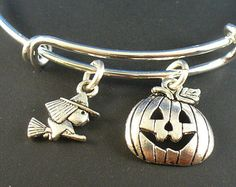 Halloween Pumpkin, Witch, Silver Bangle Bracelet, Alex and Ani Inspired, Trendy Style, Free Gift Box and Gift Wrap