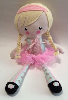 """Handmade Girl Ballerina Cloth Doll 14.5"""" Ella Plush Softie Rag Doll With Blue And Pink Print Dress Pink Tutu Blond Wool Felt Hair by Darlingdollyss on Etsy"""