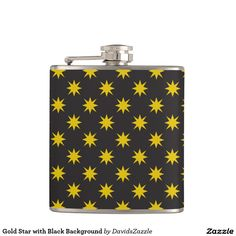 Gold Star with Black Background Flask This design is available on many products! Click the 'available on' tab near the product description to see them all! Thanks for looking!  @zazzle #art #star #pattern #shop #home #decor #kitchen #dining #apartment #decorate #accessory #accessories #fashion #style #women #men #shopping #buy #sale #gift #idea #fun #sweet #cool #neat #modern #chic #black #blue #orange #grey #purple #navy