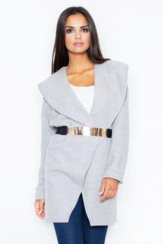 Szary płaszcz damski z efektownym pasem