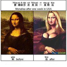 Wordoor Chinese - Chinese jokes# Monalisa after one week in USA
