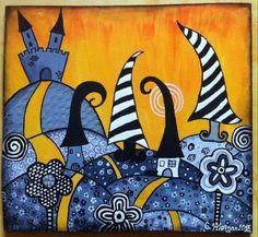 Este cuadro se llama El reino incoloro. Esta hecho con acrílico y relieves. Me inspire en el zentagle un poco pero quise darle color para que fuera más de mi estilo. Www.Miscuadritosdecolores.Blogspot.Com