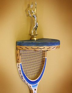 Vintage Tennis Racquet Upcycled Awards and Trophy Wall Shelf Display of Found Recycled Retro Junk Objects