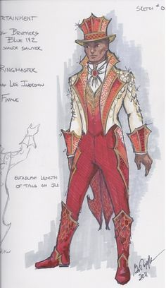 Gregory A. Poplyk Costume Design for Ringmaster, Act in Ringling Brothers and Barnum & Bailey: Dragons! Ringmaster Costume, Samba Costume, Dress Sketches, Fashion Sketches, Fashion History, Fashion Art, Vintage Circus Costume, Costume Design Sketch, Theatre Costumes