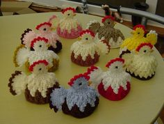 DEBBIE S HAND CROCHET EASTER CHICK/CHICKEN EGG COSIES- Chicken for the hat