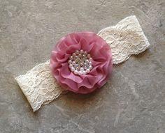 Ivory Dusty Rose headband, Baby Hair Bow, flower headband, baby headbands, shabby chic roses, baby girl headband, hair bows- BL993