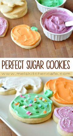 Sugar Cookies {My Favorite Recipe!} - Mel's Kitchen Cafe - - These sugar cookies take sugar cookie devotion to new levels. They are unbelievably soft and delicious and hold up to frosting amazingly well. Chewy Sugar Cookies, Christmas Sugar Cookies, Yummy Cookies, Cookies Et Biscuits, Cut Out Sugar Cookies, Frosted Sugar Cookies, Homemade Sugar Cookies, Sugar Cookie Dough, Cookie Frosting Recipe