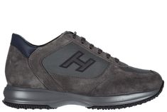 HOGAN MEN'S SHOES SUEDE TRAINERS SNEAKERS NEW INTERACTIVE H FLOCK. #hogan #shoes #