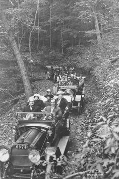 Fred Seely, Grove Park Inn CEO, drives the lead car in a party staying at the Asheville, NC hotel in its opening year, 1913. His passenger in the front seat is William Jennings Bryan, Secretary of State under Woodrow Wilson.