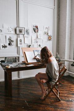 Art Studio Room, Art Studio Design, Art Studio At Home, Painting Studio, Room Art, Home Art Studios, Atelier D Art, Artist Aesthetic, Creative Studio