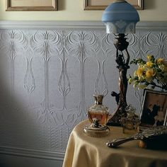 Anaglypta Gothic (RD06680). Roomset shown in same or different colourway. Paintable Textured Wallpaper, Embossed Wallpaper, Hall Wallpaper, Wallpaper Ideas, Wallpaper For Hallways, Oriental Wallpaper, Victorian Hallway, Hallway Designs, Hallway Ideas