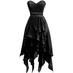 ORIENT BRIDE Elegant Beaded Sweetheart Chiffon Irregular Prom Dresses... ($150) ❤ liked on Polyvore featuring dresses, prom dresses, black prom dresses, chiffon cocktail dress, black dress and beaded prom dresses
