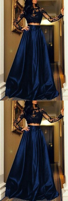 Unique Prom Dresses, Black Lace Crop Top Satin Floor Length Prom Dresses Two Piece, There are long prom gowns and knee-length 2020 prom dresses in this collection that create an elegant and glamorous look Unique Prom Dresses, Long Prom Gowns, Black Prom Dresses, Nice Dresses, Short Prom, Party Dresses, Evening Dresses, Formal Dresses, Black Lace Crop Top