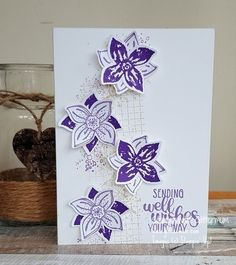 Stampin' Up! Pop of Petals cards using new 2018 colours - Highland Heather, Gorgeous Grape, Poppy Parade and Petal Pink Birthday Cards For Women, Happy Birthday Cards, Flower Stamp, Flower Cards, Simple Christmas Cards, Purple Cards, Get Well Cards, Cards For Friends, Sympathy Cards