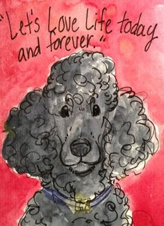 Aceo Standard Poodle Black Inspirational Quote. Original Artwork Done By NFISH