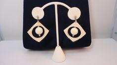 80s Cream/ivory Lucite Dangle Earrings Vintage by LoukiesWorld on Etsy