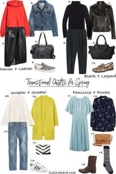 Transitional Outfits for Spring | What to wear in spring | What to wear for transitional weather | Seasonal wardrobes | Spring Outfit Options |