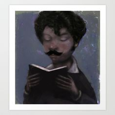 Reader with Mustache Art Print by Beati - $20.00