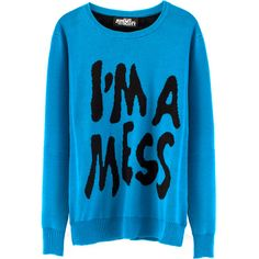 I'M A MESS CREWNECK SWEATER ❤ liked on Polyvore featuring tops, sweaters, print top, blue sweater, merino wool sweater, crew neck tops and blue crew neck sweater