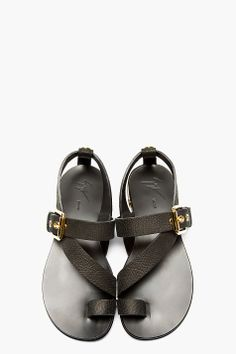 GIUSEPPE ZANOTTI Black Leather Metal Accent Sandals