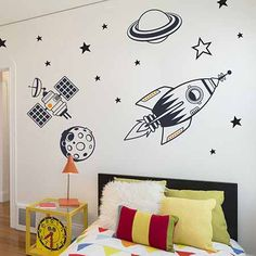 Kids Bedroom Wall Stickers Outer Space Full Feature Pack – Wall Stickers by Making Statements