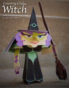 No halloween paper toy series complete without a witch. This upscale witch is ready to hit the town, or in this case, the country club. Samhain, Religions Du Monde, Mascaras Halloween, Haloween Party, Halloween Paper Crafts, Origami Tutorial, Cardboard Crafts, Paper Models, Paper Toys