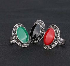 Vintage Jewelry Oval Black Red Enamel Ring Women Silver Crystal Wedding JW1R044 #Unbranded #Cocktail
