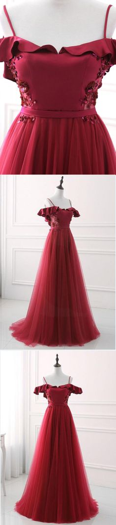 Burgundy tulle long off shoulder evening dress, long sweetheart party dress #promdress #promdresses #prom #dress