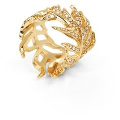 Pave Feather Ring ($28) ❤ liked on Polyvore