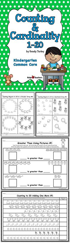 $ ABSOLUTELY AWESOME!!! This packet includes 71 activity sheets that support the Kindergarten Counting and Cardinality Common Core Math Standards. Found at: http://www.teacherspayteachers.com/Store/Helps4teachers