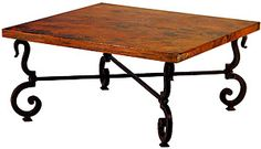 The unique iron corners of the Tuscany coffee table will add elegance to any living room.  The colorful copper table top will provide years of beauty and enjoyment.  Custom sizes are also available, please see the 'Helpful Notes' below.