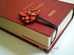 Corner Bookmark with Quilled Flowers - Book Closed View