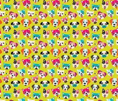 Colorful cute puppy and dogs fabric by littlesmilemakers on Spoonflower - custom fabric
