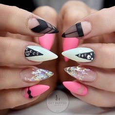 Neon Pink, Black, and White Negative Space Stiletto Nails