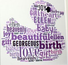 Handmade Personalised New Baby or Christening Words and Name