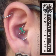 "noahbabcock: ""Fresh #daith piercing with custom bent surgical steel and #titanium cluster jewelry by #anatometal (at Evolution Body Piercing) """