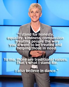 Ellen Degeneres' Feb 8 2012 monologue in response to the One Million Mom boycott of JC Penney and the Prop 8 resolution. I love her.