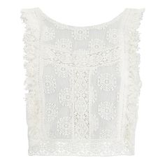 """MINKPINK Women's """"Wild Traveller"""" Lace Crop Top With Crochet Trims -... (1,765 PHP) ❤ liked on Polyvore featuring tops, white, crochet top, white lace top, sleeveless tops, sheer crop top and lace top"""