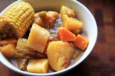 "Sancocho - the wonderful Puerto Rican roots stew! Make it ""autoimmune-paleo friendly"" (AIP) by substituting the green pepper with celery, the corn with cabbage (added at the last 10 mins of cooking) and the potato with taro root and yam. Stir fry 2 chopped tomatoes with the onions (if you tolerate them!). To make it more authentic add: green spanish olives, capers, oregano, cumin, 1 bay leaf and achiote/anatto (or saffron)."